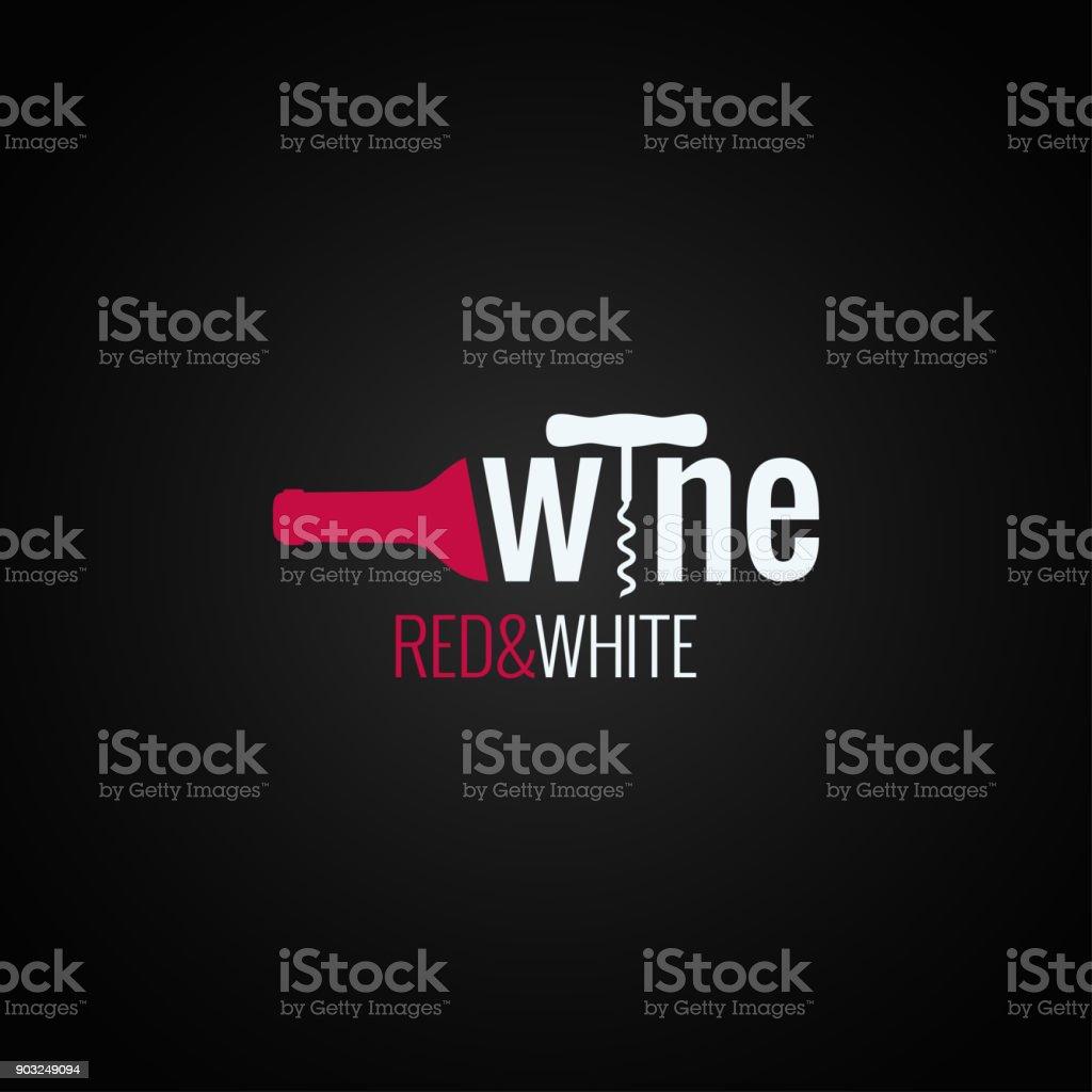 symbole de la bouteille de vin sur fond noir - Illustration vectorielle