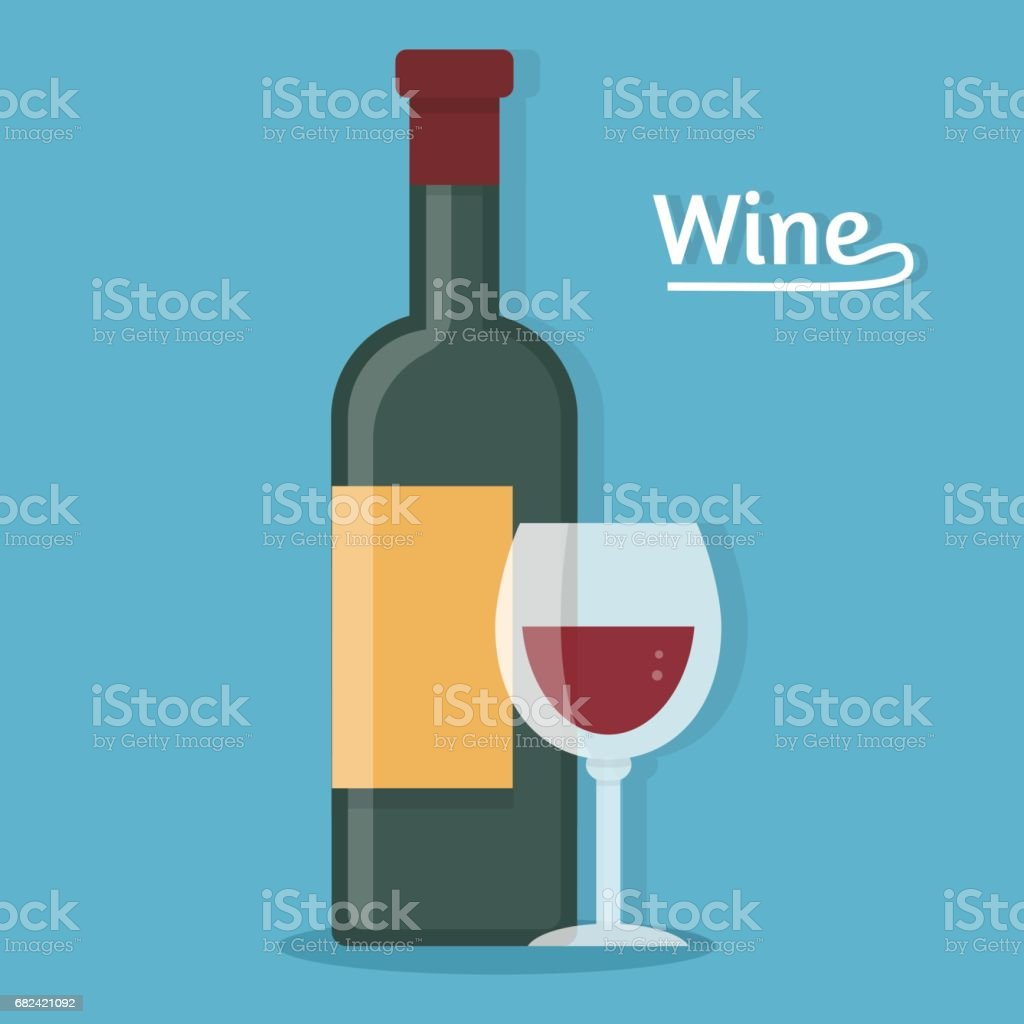 Wine bottle with glass. royalty-free wine bottle with glass stock vector art & more images of alcohol