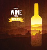 Wine bottle with the landscape of Tuscany. Vector poster.