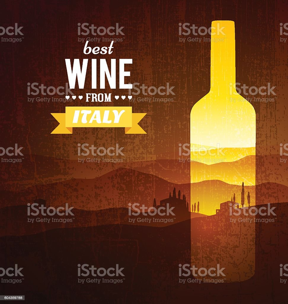 Wine bottle with the landscape of Tuscany vector art illustration