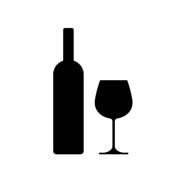 ilustrações de stock, clip art, desenhos animados e ícones de wine bottle with wine glass icon isolated on white background. - vinho