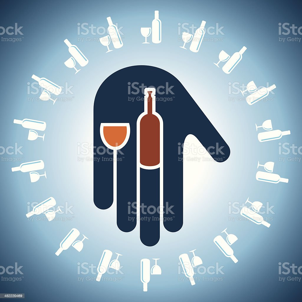 wine bottles and glasses in hand royalty-free stock vector art