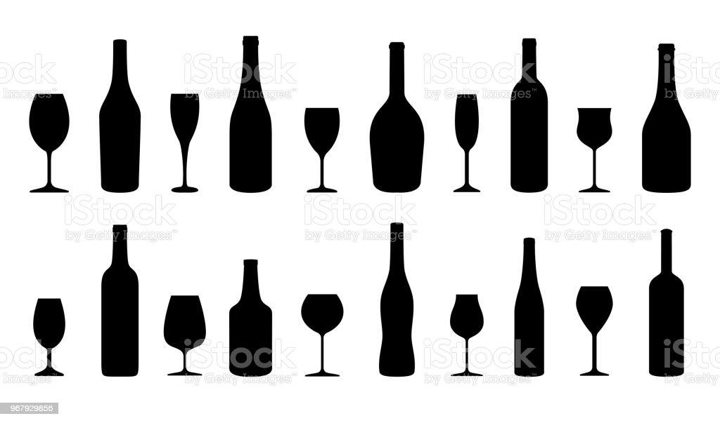 Ensemble de silhouettes bouteilles et verres à vin. Illustration vectorielle - Illustration vectorielle