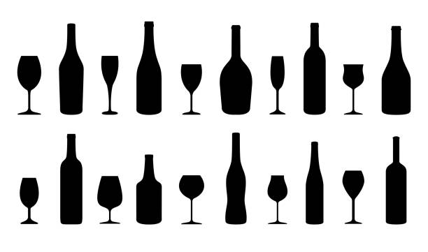 Wine bottles and glasses silhouettes set. Vector illustration Wine bottles and glasses silhouettes set. Vector illustration bottle stock illustrations