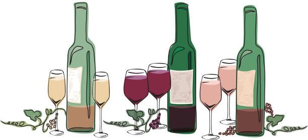 Wine Bottles and Glasses vector art illustration