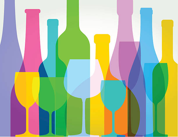 wine bottles and wine glasses - alcohol drink silhouettes stock illustrations
