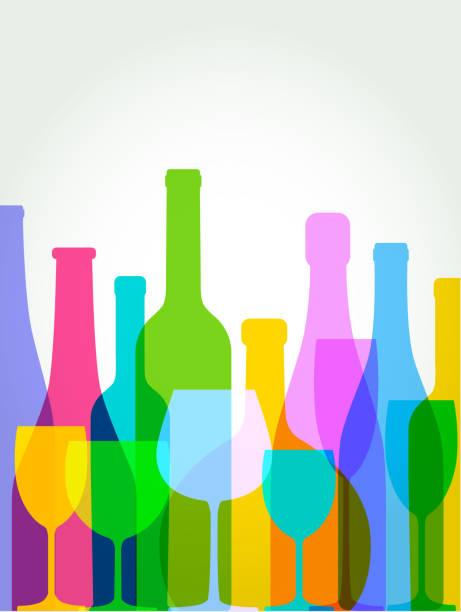 bildbanksillustrationer, clip art samt tecknat material och ikoner med vinflaskor och vinglas - vitt vin glas