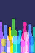 Colourful overlapping silhouettes of wine bottles and wine glasses