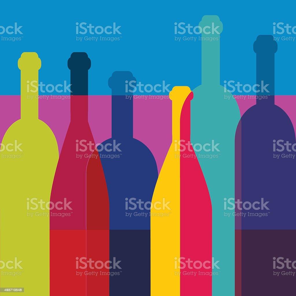 Wine bottles Art background. Wine restaurant concept. Vector. vector art illustration