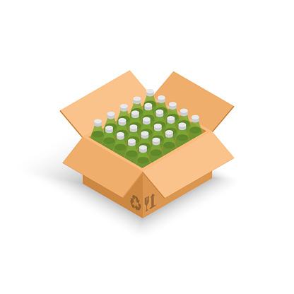 Wine bottles cardboard box vector illustration