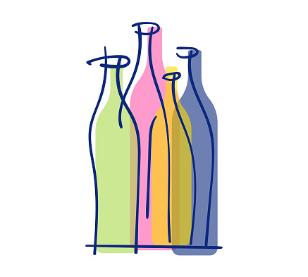 Vector illustration of a set of wine bottles. Cut out design element on a white background.