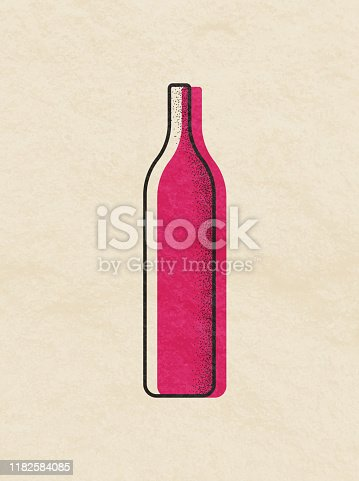Vector illustration of a set of wine bottles. Flat design with soft colors a touch of texture and transparencies.
