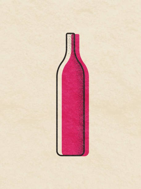 wine bottles illustration - butelka wina stock illustrations