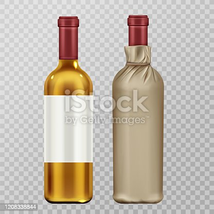 Wine bottles in craft paper package mock up set isolated on transparent background. Glass flask with blank label, white vine alcohol drink, design elements. Realistic 3d vector illustration, clip art