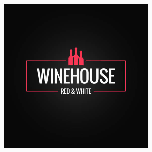 wine bottles logo design background - restaurant logos stock illustrations, clip art, cartoons, & icons