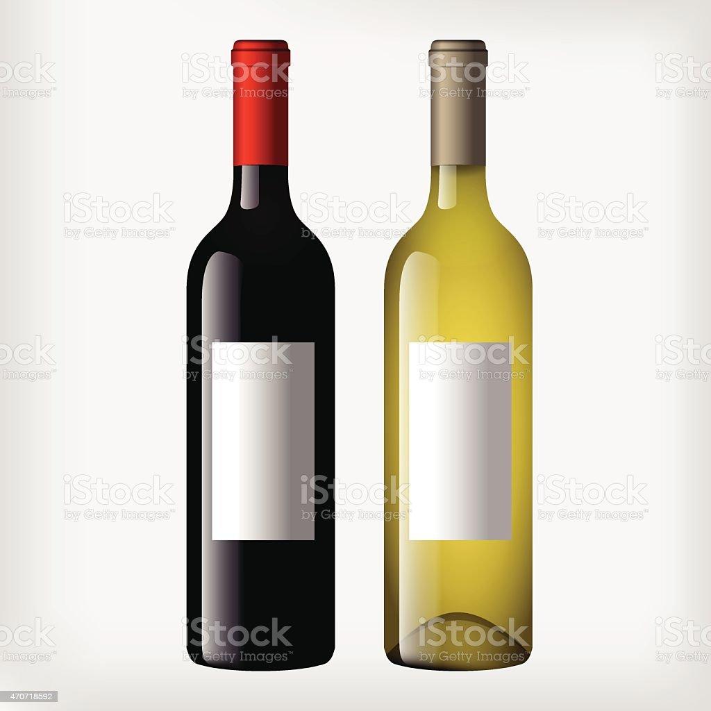Wine bottles - red and white wine vector art illustration