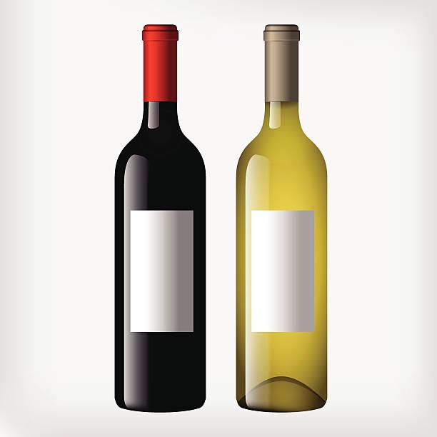 bildbanksillustrationer, clip art samt tecknat material och ikoner med wine bottles - red and white wine - vitt vin glas