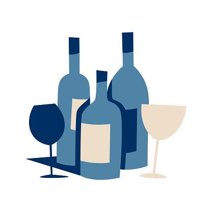 Wine bottles retro design
