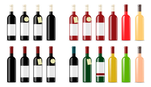wine bottles setbig vector set of wine bottles. blank label for packaging design. isolates on a white background - butelka wina stock illustrations