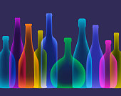 Colourful overlapping wine bottles