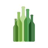Vector illustration of a collection of wine bottles