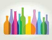 Colourful overlapping wine bottles. EPS10, file best in RGB, CS5 and CS3 versions in zip