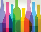 Colourful overlapping wine bottles. EPS10, file best in RGB, CS5 version  in zip