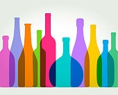 Colourful overlapping silhouettes of wine bottles