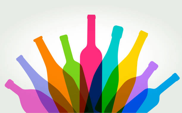 wine bottles - butelka wina stock illustrations