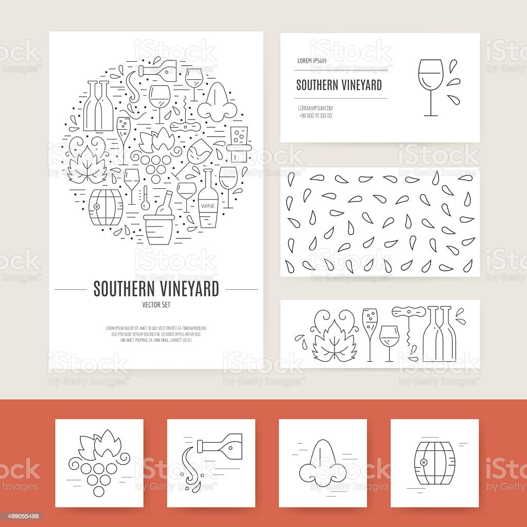 Wine Business Identity vector art illustration
