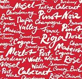 Wine Classification Calligraphic Seamless Pattern.