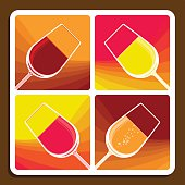 Wine collage of four stylised illustrations showing different varieties with tilted wine glasses each filled with a different colour liquid