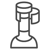 Wine cork in bottle line icon, Wine festival concept, bottle with cork stopper sign on white background, Uncorked bottle icon in outline style for mobile and web design. Vector graphics