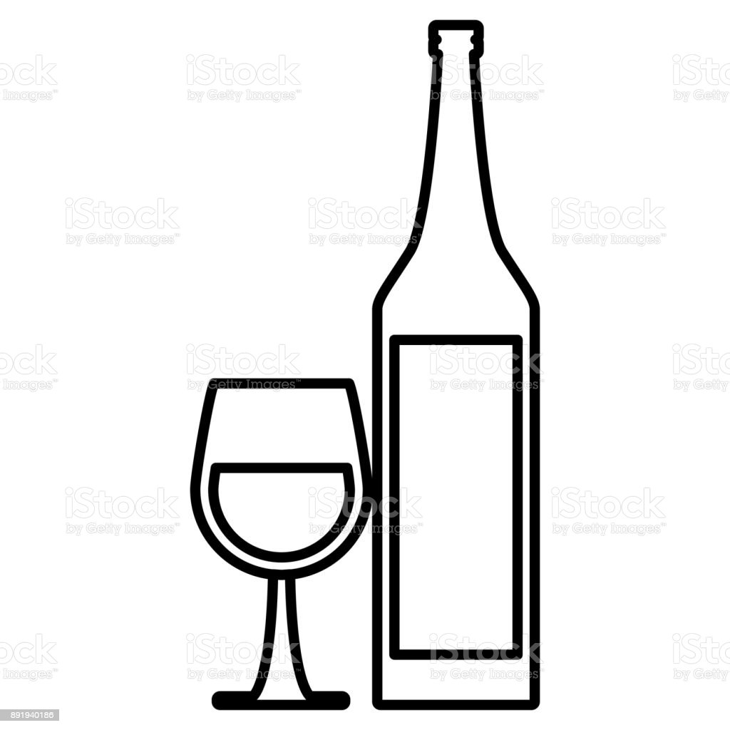 wine cup and bottle stock vector art more images of alcohol Tempranillo Wine wine cup and bottle illustration