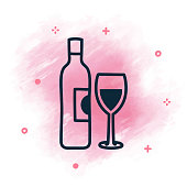 Vector wine bottle and glass doodle sketch over watercolor background.