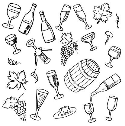 Hand Drawn wine doodles set. Vector illustration.