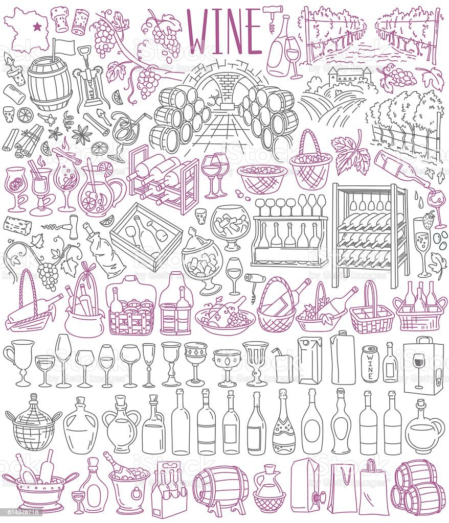 Wine drawings collection vector art illustration