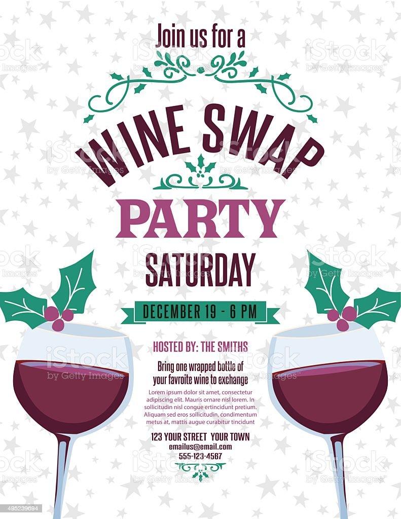 Wine Exchange Party Invite Template Stock Vector Art & More Images ...