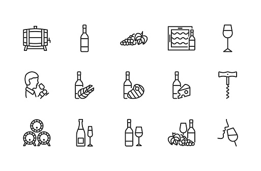 Wine flat line icon set. Vector illustration symbols about different types of wine for fish, meat and cheese. Grape, sommelier, cheese, barrel, corkscrew. Editable strokes