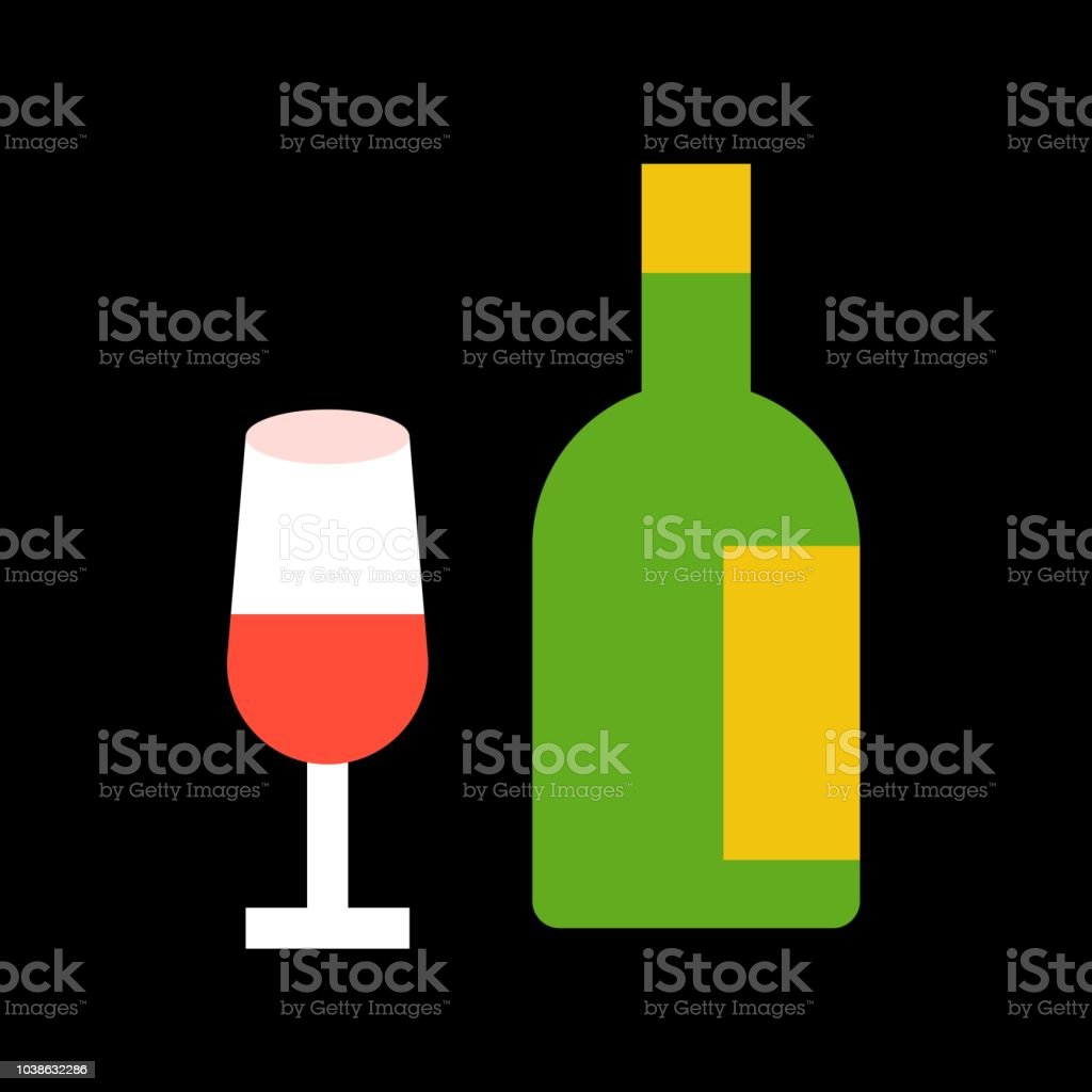 Wine Glass And Bottle Merry Christmas Filled Icon Set Stock Vector