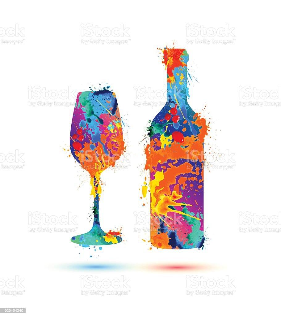 Verre et bouteille de vin - Illustration vectorielle
