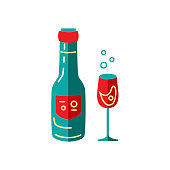 Wine glass and bottle vector illustration isolated on white background. Flat and line style design.