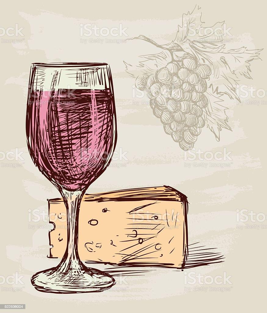 Bicchiere Di Vino E Formaggio Immagini Vettoriali Stock E Altre Immagini Di Alchol Istock
