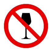 Wine glass and prohibition sign