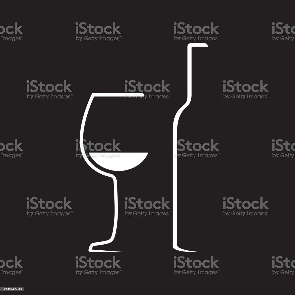 Wine glass and wine bottle vector art illustration
