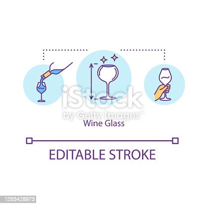 istock Wine glass concept icon. Clear drinkware to serve wine. Clean glassware for alcohol beverage. Stemware idea thin line illustration. Vector isolated outline RGB color drawing. Editable stroke 1253428973