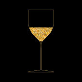 istock Wine glass gold outline. Festive drink, champagne, drink with bubbles. Glowing yellow liquid in glass. Vector illustration 1269729471