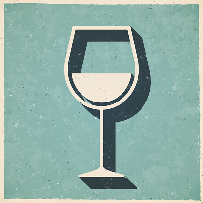 Wine glass. Icon in retro vintage style - Old textured paper