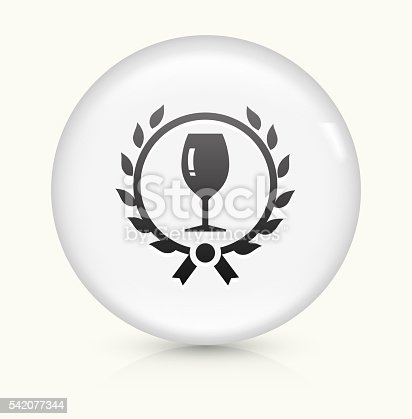 Wine Glass Icon on simple white round button. This 100% royalty free vector button is circular in shape and the icon is the primary subject of the composition. There is a slight reflection visible at the bottom.