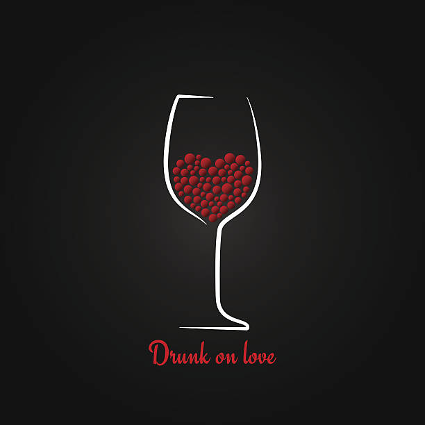 valentines icons vector art illustration wine glass love concept design background vector art illustration - Valentine Wine Glasses